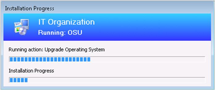 Exemple de progression de la séquence de tâches avec la progression de la mise à niveau de Windows
