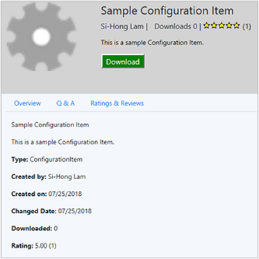 Configuration Manager console, Community workspace, Hub node, details page
