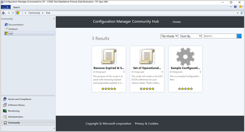 Configuration Manager console, Community workspace, Hub node