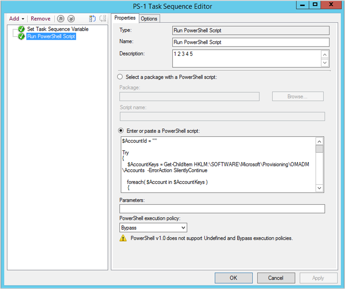 Run PowerShell Script step in sample task sequence