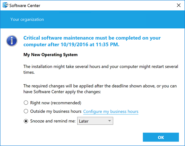 Required Software dialog