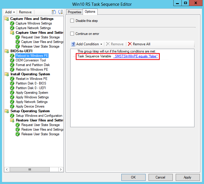 Task sequence steps to manage BIOS to UEFI conversion