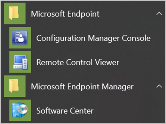 Microsoft Endpoint start menu icons