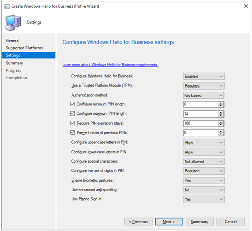 Windows Hello For Business Settings Configuration Manager