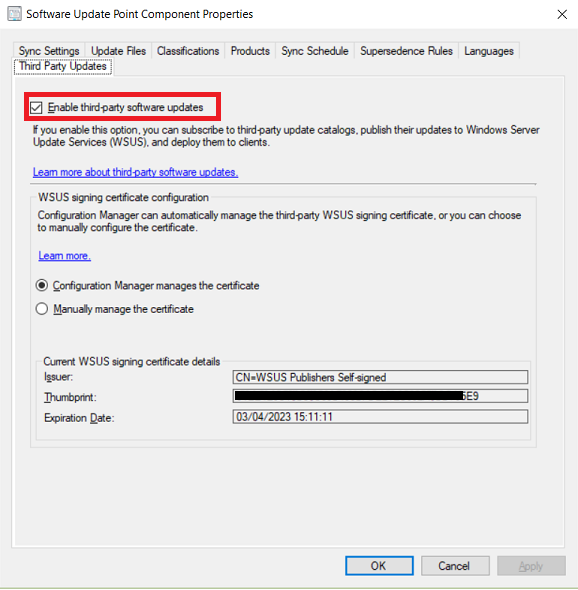 Enable third party updates - Configuration Manager | Microsoft Docs