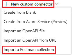 Create a custom connector from a Postman collection | Microsoft Docs