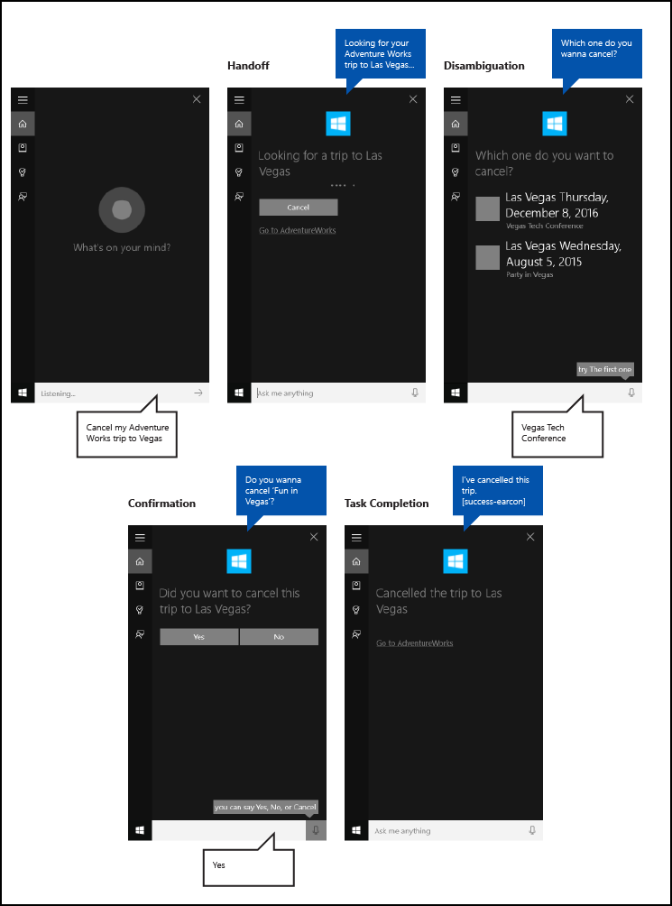 end to end cortana background app flow