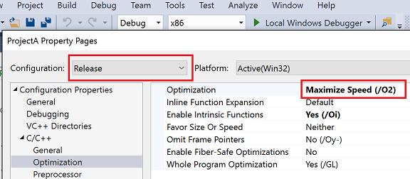 Set C++ compiler and build properties in Visual Studio