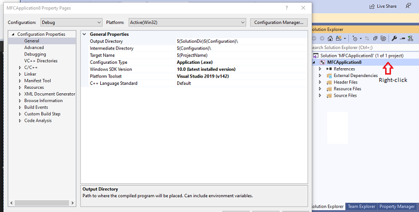 Windows C++ project property page reference - Visual Studio