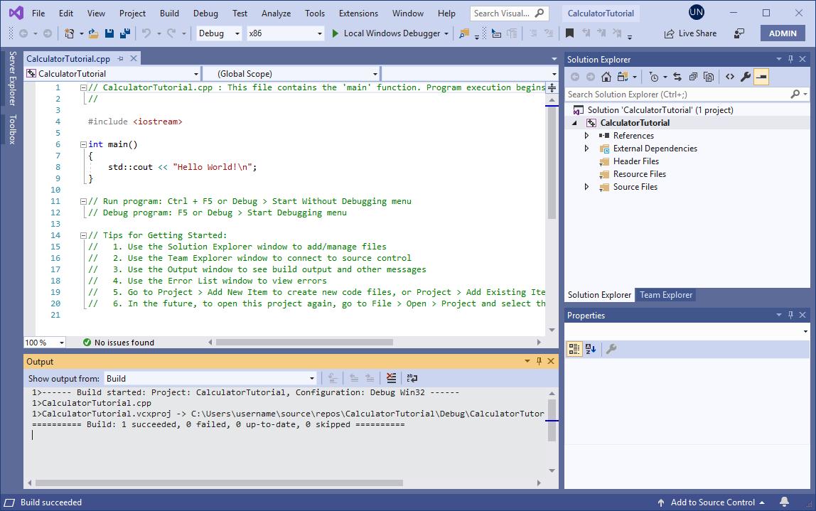 Create a C++ console app project | Microsoft Docs