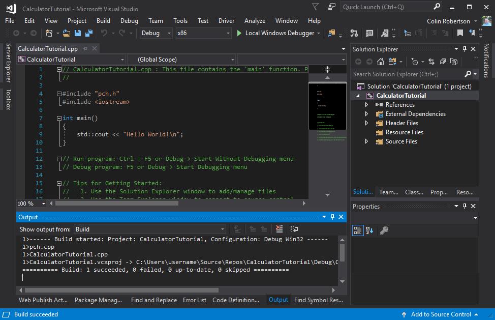 Create a C++ console app project   Microsoft Docs