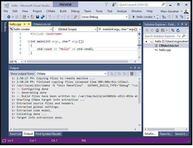 Create and configure a Linux CMake project in Visual Studio