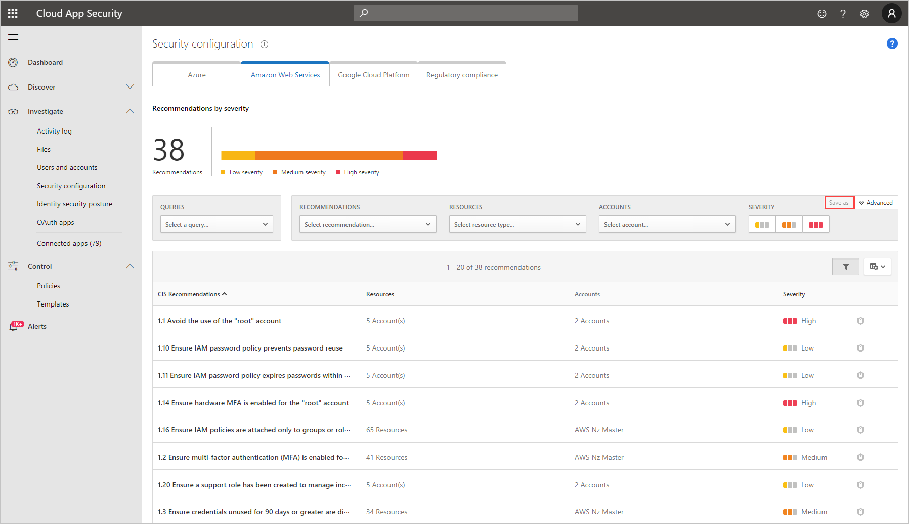 Get security configuration recommendations for AWS - Cloud