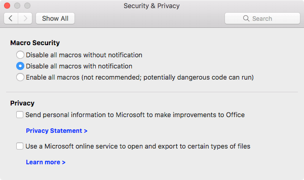 Set a preference for macro security in Office for Mac