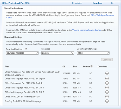 microsoft volume licensing service center office 2016