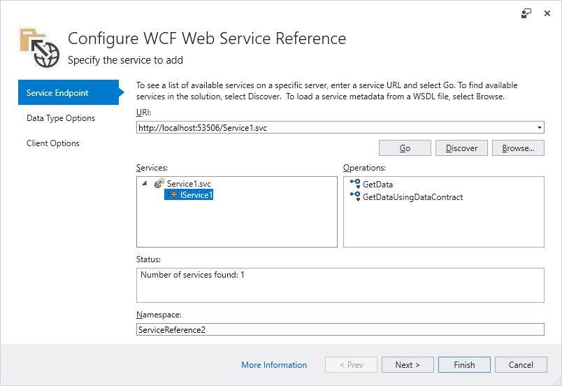 Add WCF Web Service Reference -  NET Core | Microsoft Docs