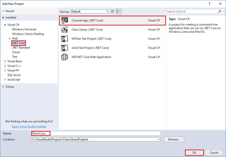 Consume a  NET Standard library in Visual Studio 2017 -  NET Core