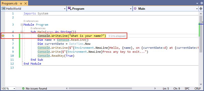 Debug your Hello World  NET Core application with Visual Studio 2017