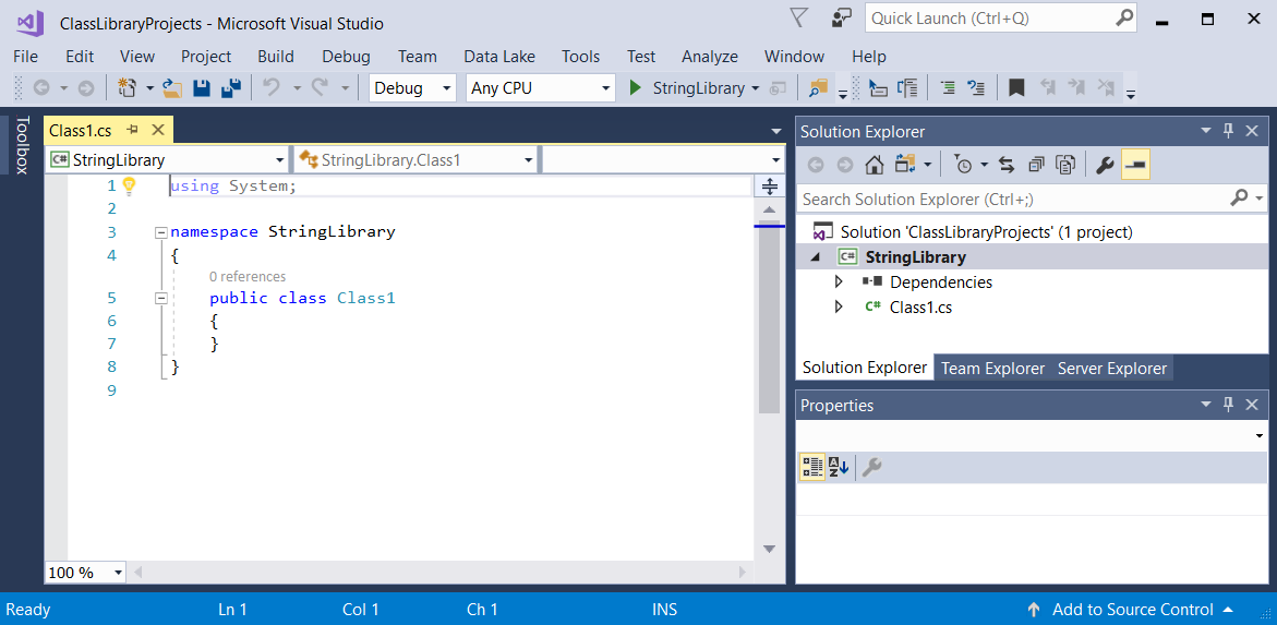 Building a standard class library with c and core in visual studio application window showing the default class library template code ccuart Images
