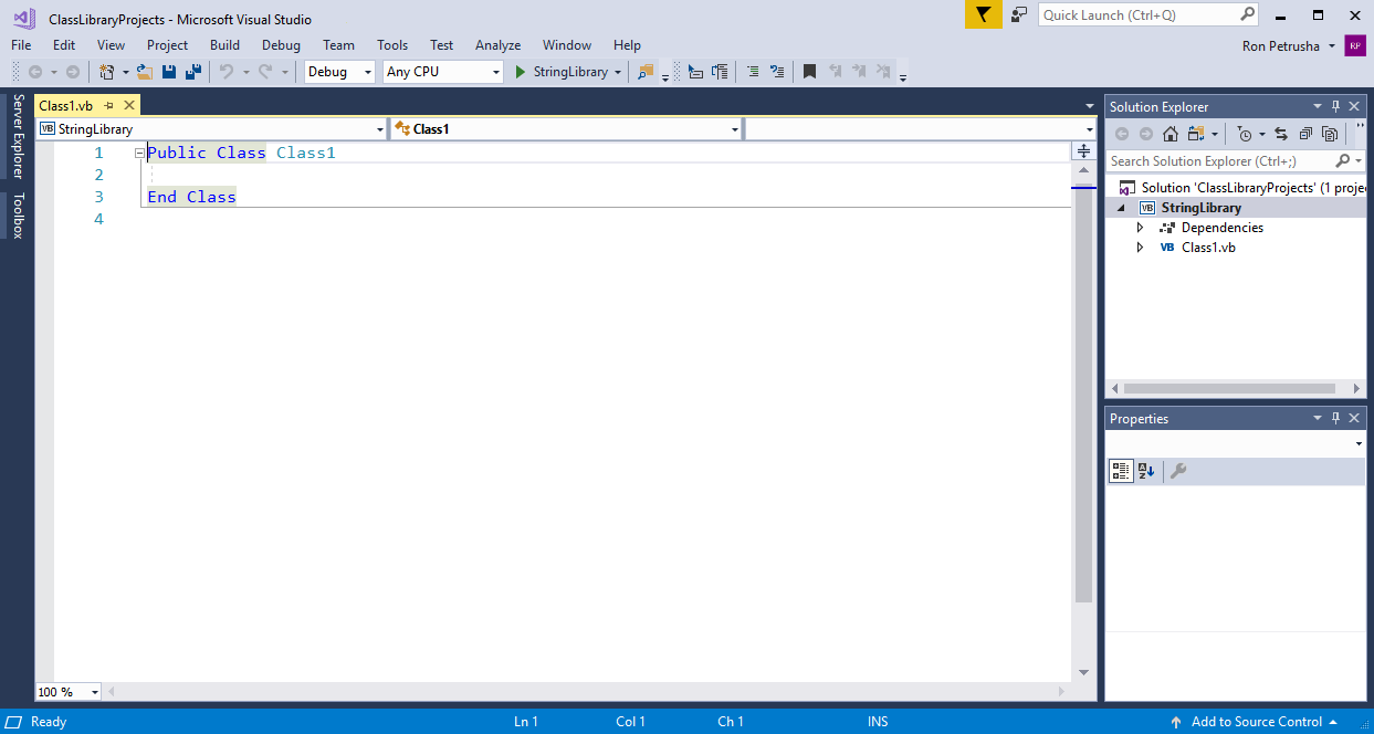 Visual Studio application window showing the default class library template  code