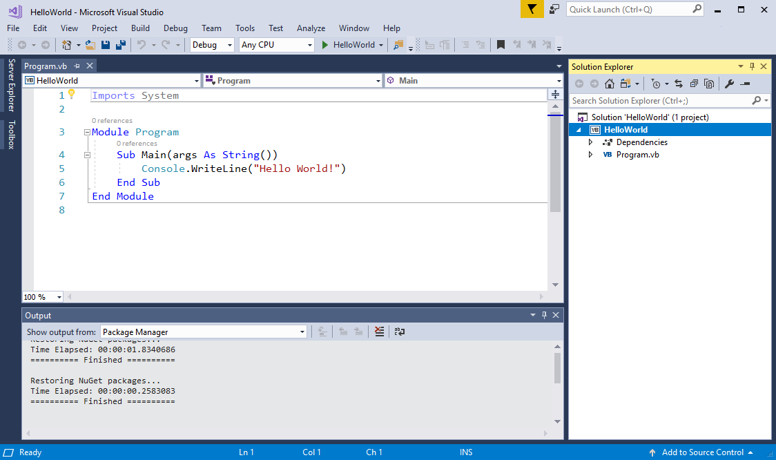 NET Core Hello World application with Visual Basic in Visual