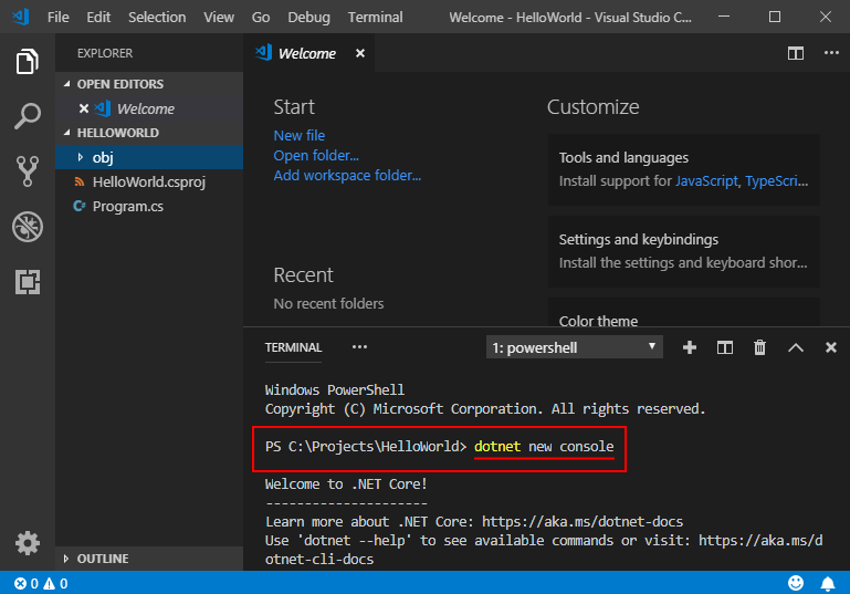 Get started with C# and Visual Studio Code -  NET Core | Microsoft Docs