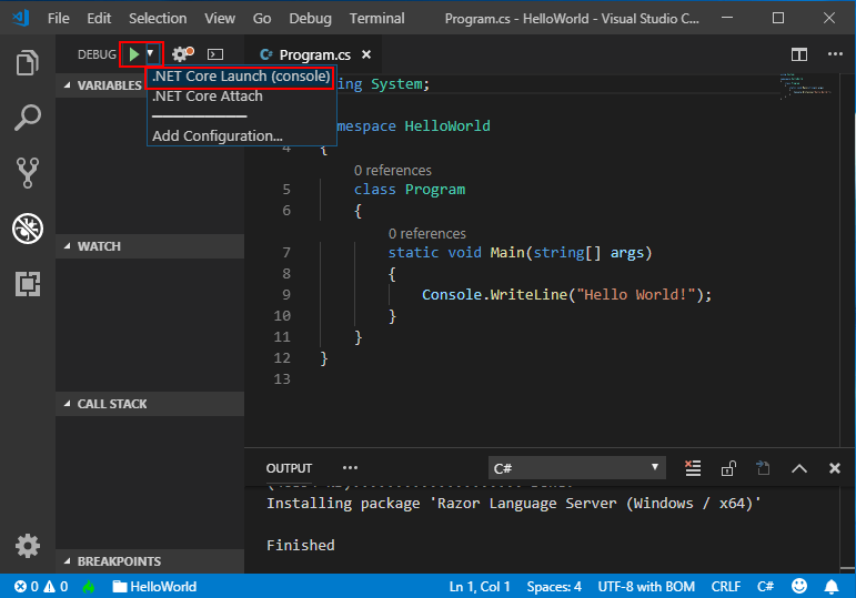 Get started with C# and Visual Studio Code - C# Guide