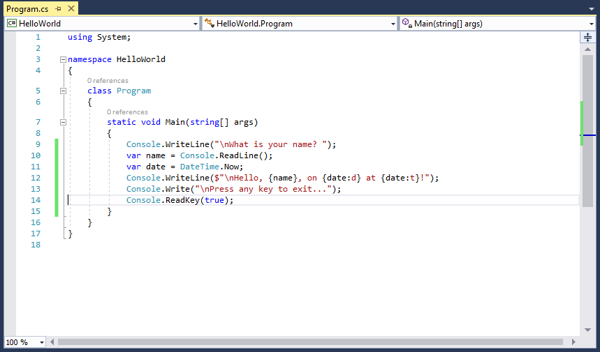 Visual Studio Program c-sharp file with updated Main method