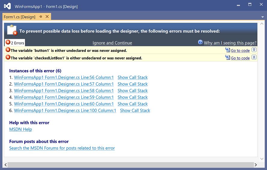 Design Time Errors In The Windows Forms Designer Microsoft Docs
