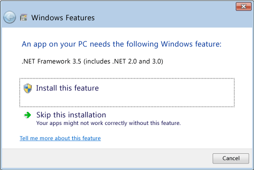 net framework 3.5 inclut 2.0 et 3.0 windows 10