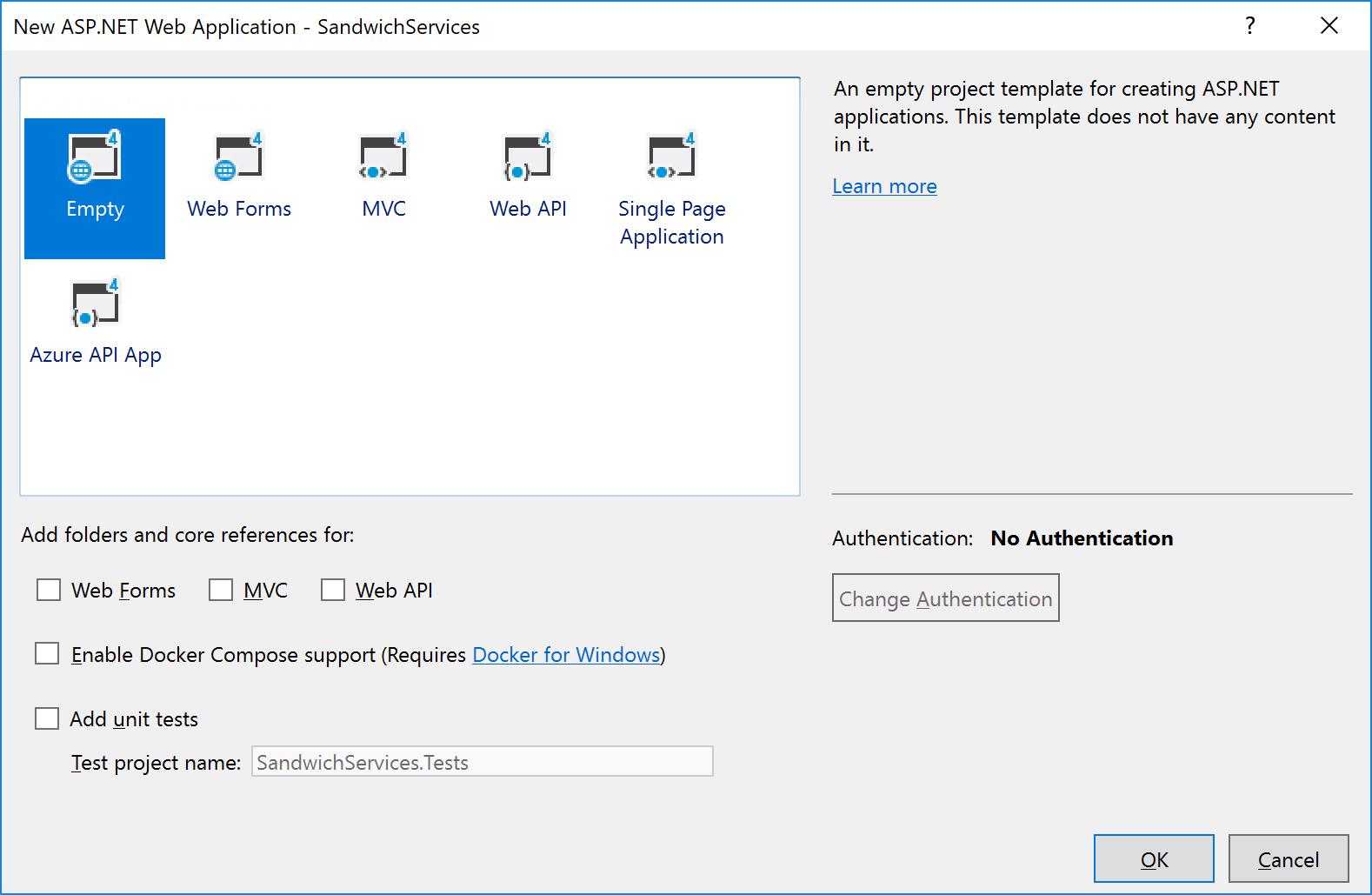 NET web app type dialog in Visual Studio