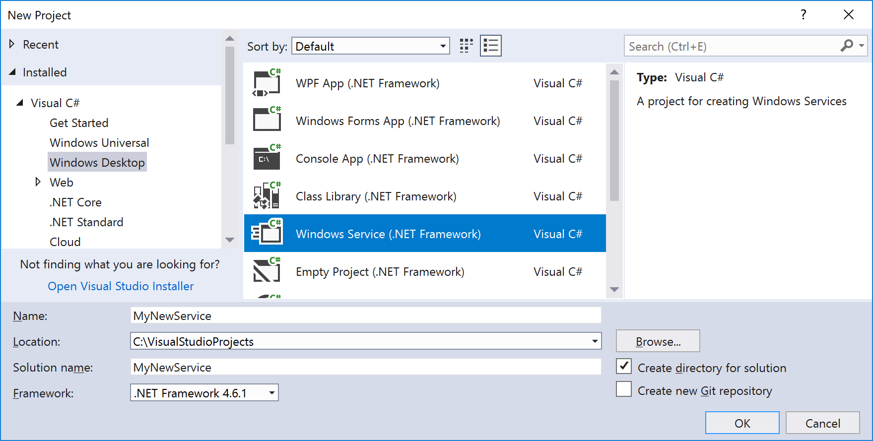 Windows Service template in New Project dialog in Visual Studio