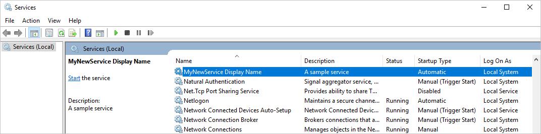 Service description in the Services window.