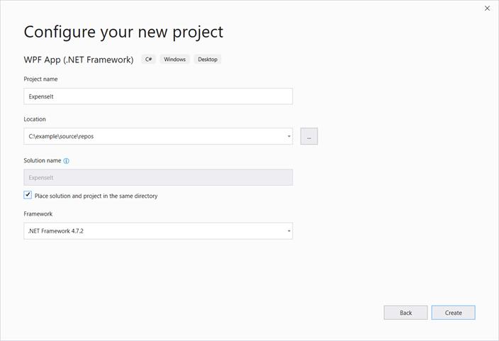 Create a WPF application in Visual Studio | Microsoft Docs