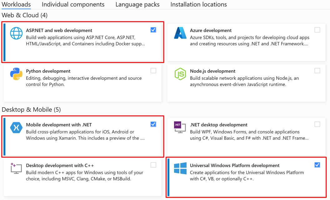 Visual Studio workloads