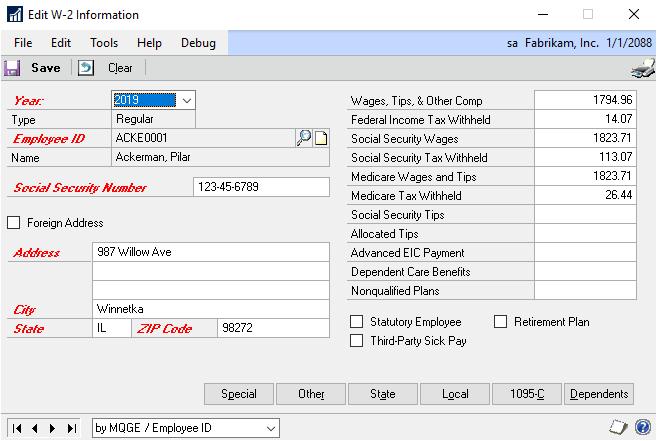 Dynamics GP U S  Payroll - Dynamics GP | Microsoft Docs