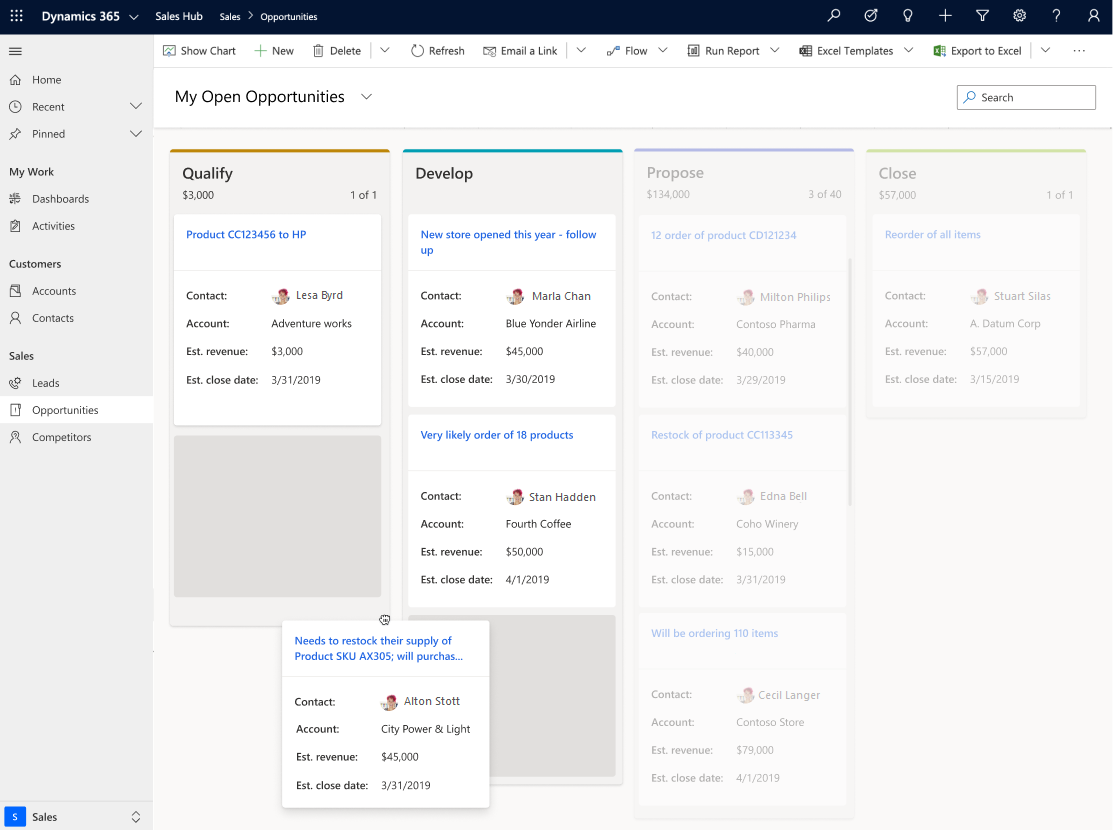 Work with opportunities in the Kanban view - Dynamics 365 2020 Release Wave 1