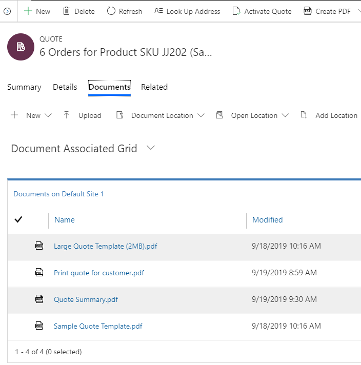 PDF documents added to the SharePoint site