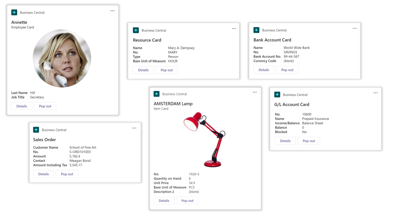 A variety of Microsoft Teams cards