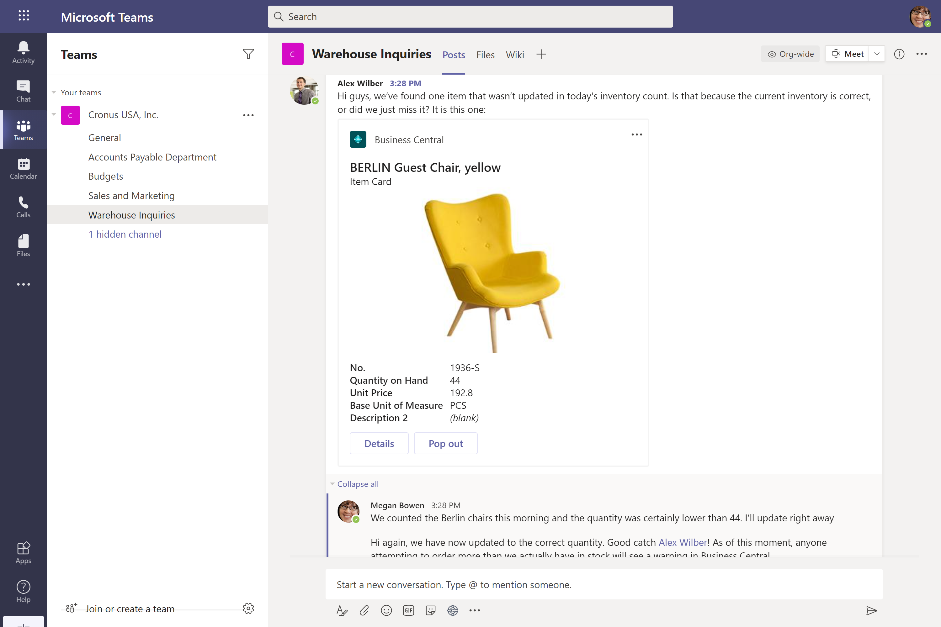 Conversation between coworkers in Microsoft Teams with business data as the topic of conversation