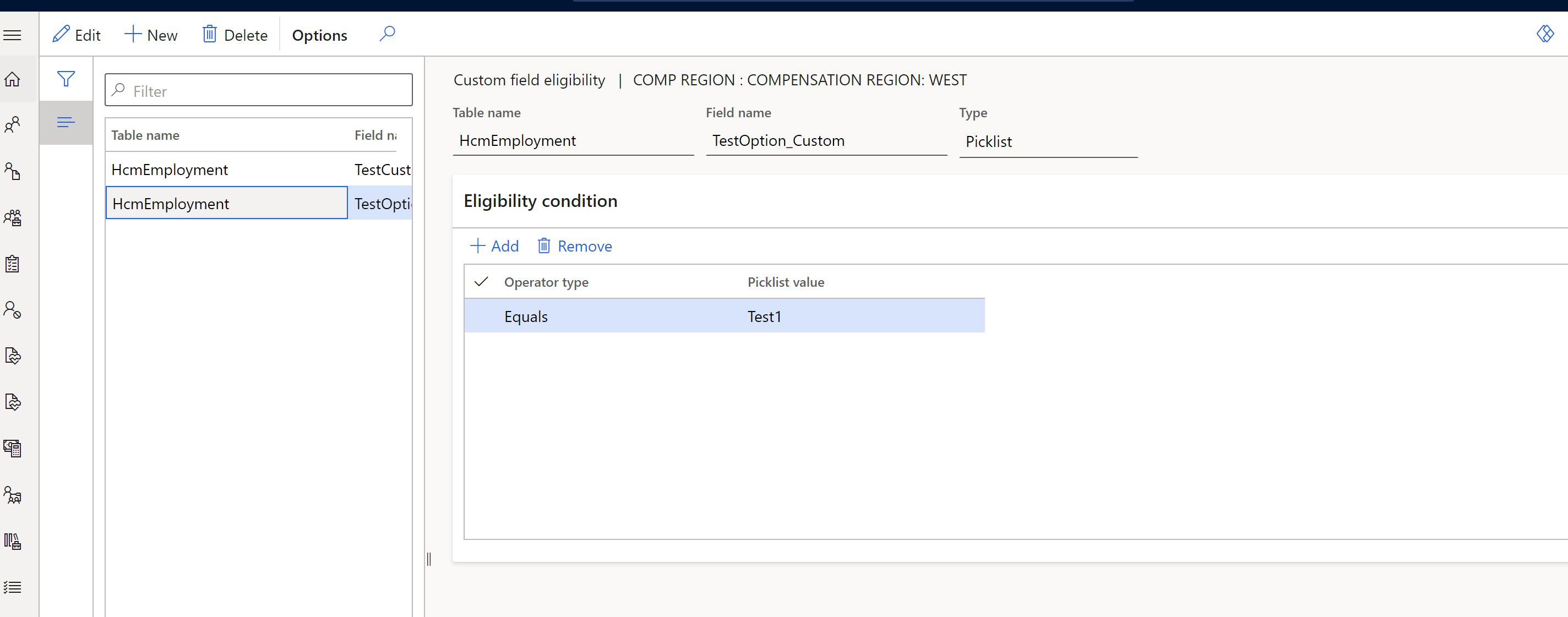 Custom fields configuration for eligibility rules