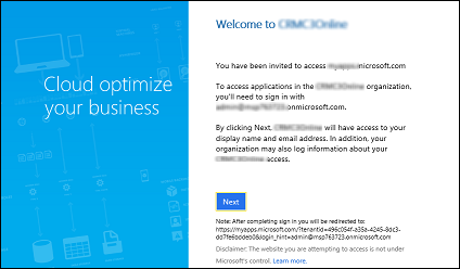 Accept the invitation to Dynamics 365