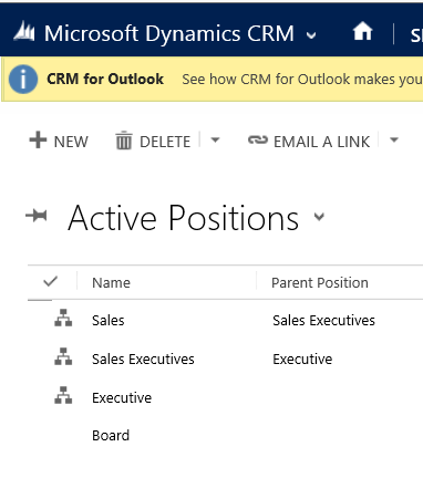 Active positions in Hierarchy Security in Dynamics 365