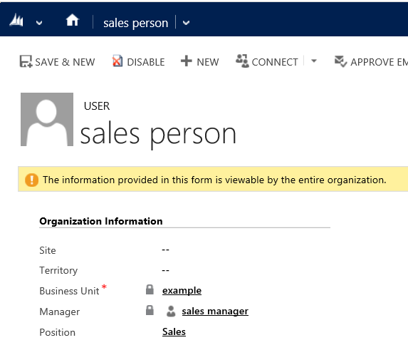 Sales person user record in Dynamics 365