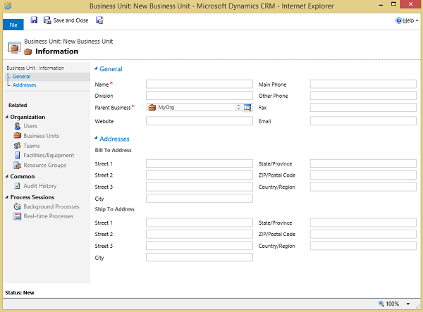 Business Unit dialog box in Dynamics 365
