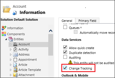 Select Change Tracking for an entity