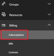Choose Billing > Subscription