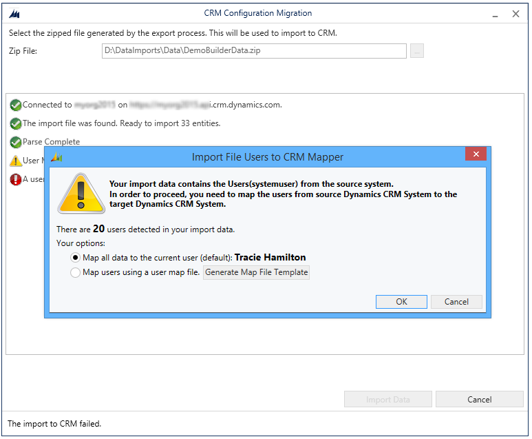 Import file users to Dynamics 365 Mapper