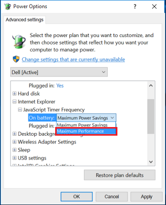 Internet Explorer power options