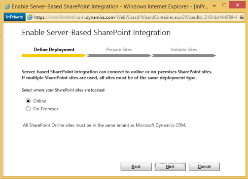Set up Dynamics 365 for Customer Engagement apps to use SharePoint